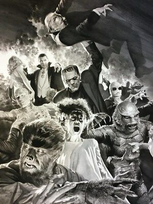 """Set Of 7 Universal Monsters 7"""" x 5"""" Photo Prints by Alex Ross Dracula Wolfman"""