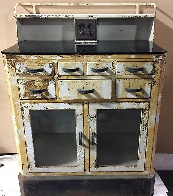 "Antique Vintage Medical Cabinet Metal   ""ta217"""