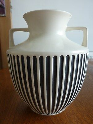 Vintage Hornsea Pottery, Classic no 828Vase, in Black & White Grecian Style