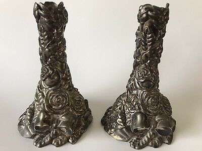 International Silver Co.Baroque Silverplated Roses & Bow Candle Sticks/Holders