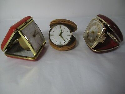 X3 Vintage Travel Clocks wind up clocks for Spares or Repairs