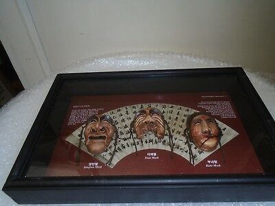 unusual korean mask shadowbox wall hanging  THE MASK OF HAHOE BYEOSLIN EXORCISM
