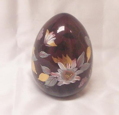 """Fenton Large 5"""" Purple Amethyst Egg - Hand Blown And Hand Painted -1993"""
