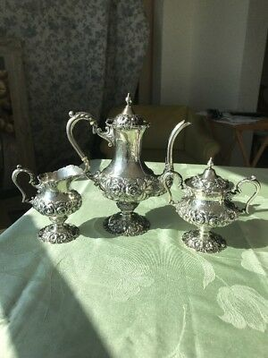 Stieff Sterling Hand Chased Tea Set
