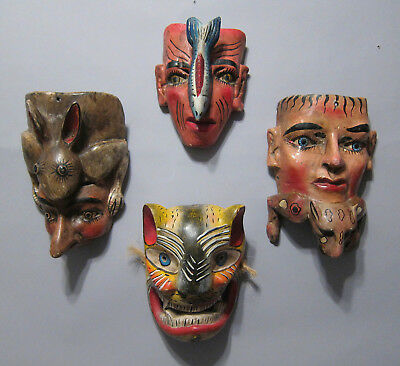 Vintage Mexican Dance Mask - Group of Four