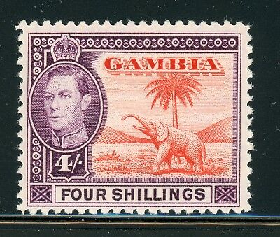 Gambia MH Selections: Scott #141 4Sh Violet/Red Org KGVI Elephant CV$21+