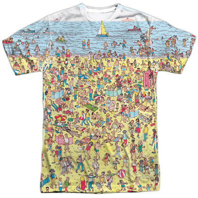 Wheres Waldo? Puzzle BEACH SCENE 1-Sided Big Print Poly T-Shirt