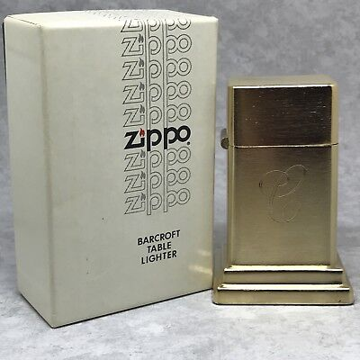 Vintage Zippo Model 4 Barcroft Table Lighter - Gold Plated - Engraved Letter C