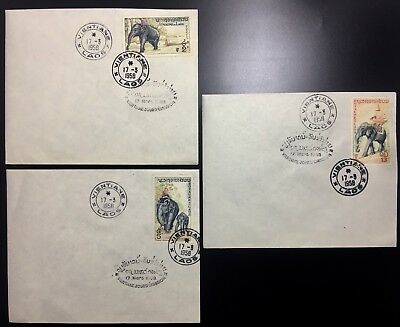 Laos Lao First Day Cover FDC Vientiane Elephant 1958