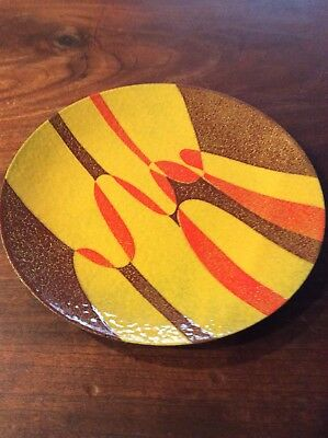Vintage Mid Century Modernist Enamel Copper Arts Crafts Red Yellow Plate Bowl