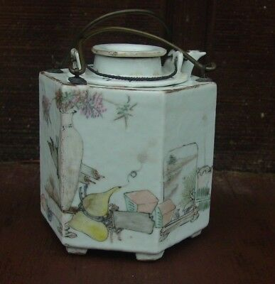 Chinese 6 Sided Famille Rose And Poem Teapot Artist Marked Nr