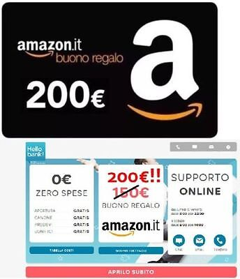 BUONO AMAZON 250€ HELLO BANK - voucher GRATIS codice MGM307474260