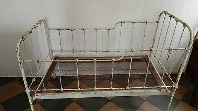 Baby Crib RARE 19th Century Vintage Antique Wrought Iron(5 Piece) Easy Assembly