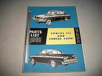 ORIGINAL 1961-1964 FORD CONSUL and CAPRI ILLUSTRATED MASTER PARTS CATALOG