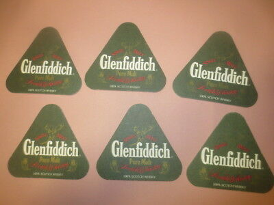 6 x GLENFIDDICH Scotch Whisky 1990,s Issue Spirits collectable Coasters GREEN