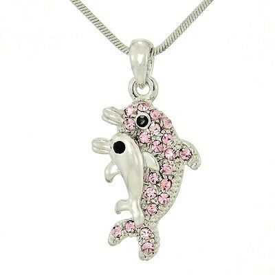 "Dolphin Mother Baby Made With Swarovski Crystal Ocean Pink Pendant 18"" Chain"