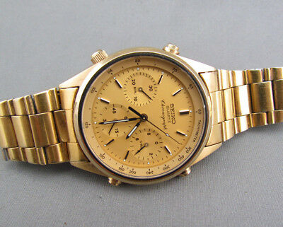 VINTAGE SEIKO QUARTZ SQ CHRONOGRAPH TACHYMETER MEN'S WATCH 7A28-7029 -for repair