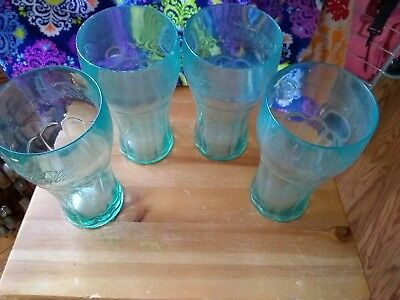 Large, plastic, Classic Coca Cola, clear, green, tumblers - set of 4
