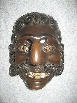 "Vintage Guatemalan Dance Face Mask ""Mexicano"" Mayan Wooden Folk Art Hand Carved"
