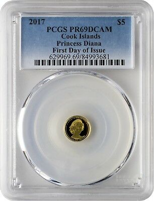 2017 $5 Cook Islands In Memory of Princess Diana Gold Coin PCGSPR69DCAM FD