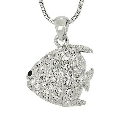 "FISH W Swarovski Crystal Sea Ocean Coral Reef Aquarium Pendant 18"" Chain"