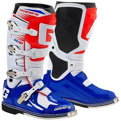 Gaerne 2017 SG-10 Adult Rider Motocross Dirtbike Boots WHITE BLUE RED Size 43-47