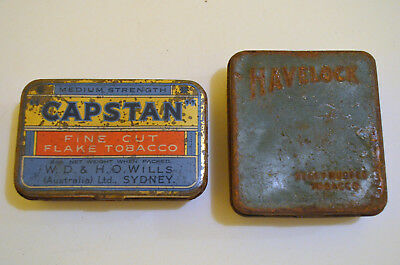 VINTAGE 'HAVELOCK' 1oz & 'CAPSTAN' 2oz TINS TOBACCO CASE 1940's Australian