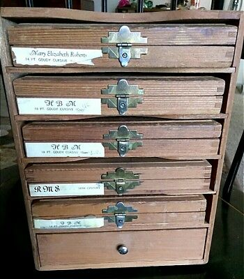 Kingsley's Hot Foil Stamping Wooden Box 5 Cases Type Set Coudy Cursive 1 Drawer