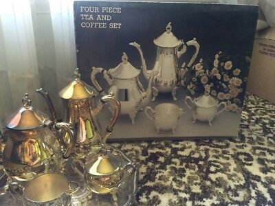 Vintage Viners Silver 4 piece tea and coffee set plus silver tray