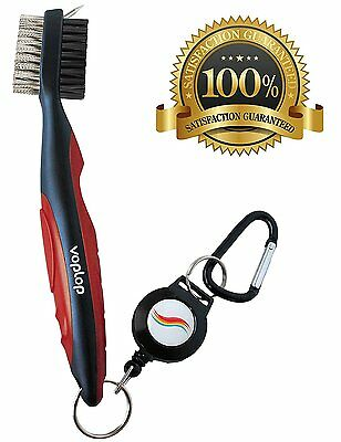 Golf Brush and Club Groove Cleaner - Easily Attaches to Golf Bag - Red