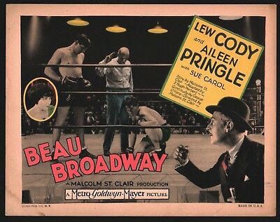 BEAU BROADWAY TITLE Lobby Card (VeryGood+) 1928 Lew Cody Movie Poster Art 1332