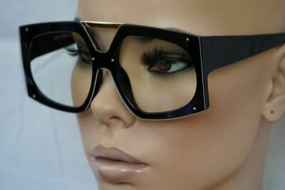 545eaf5f22ff1 OVERSIZE EXAGGERATED SHIELD Style Clear Lens EYE GLASSES XL Thick Fashion  Frame