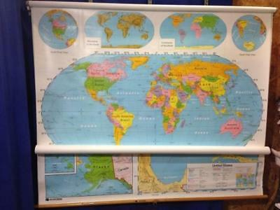 Nystrom World + United States Pull Down Map 2 Layer 1NS991 65 x 54