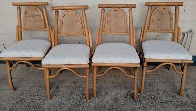 (4) VINTAGE BAMBOO Side Chairs Hollywood Regency GLAM ~ Cane back