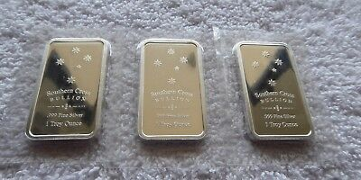 "3 X 1 oz SOUTHERN CROSS ""EUREKA"" BULLION 999 FINE SILVER BARS"