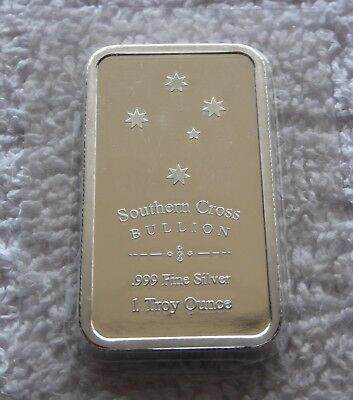 "1 oz SOUTHERN CROSS ""EUREKA"" BULLION 999 FINE SILVER BAR"