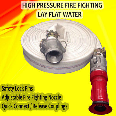 "High Pressure Fire Fighting Lay Flat Water Hose Couplings 30m 1.5"" Fire Nozzle"