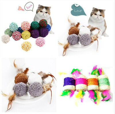 Pet Cat Kitten Feather Sisal Rope Ball Colorful Mouse Scratching Chew Toy Dsly