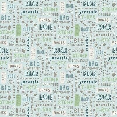 Riley Blake Dinosaur Fossil Grey Footprints Fabric FQ or Metres 100/% Cotton