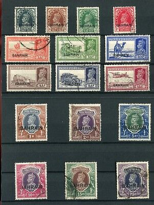 Bahrain KGVI 1938-41 overprinted definitive set of 16 SG20/37 used