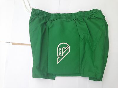 Shiny Nylon Retro Goalie shorts plain green  padded sides 34""