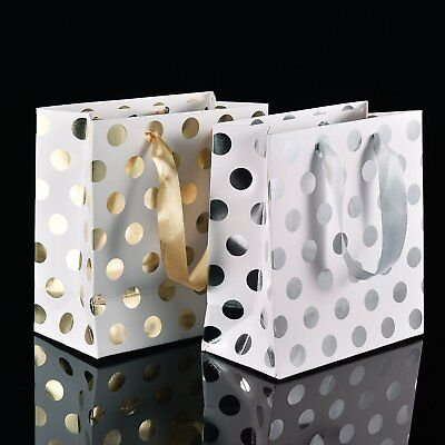 12 Pack Polka Dots Gift Bags Present Bags Set with Ribbon Handles Gold Silver