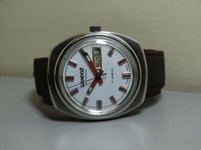 Vintage Sandoz Automatic Day Date Swiss Made Wrist Watch E849 Old Antique Used