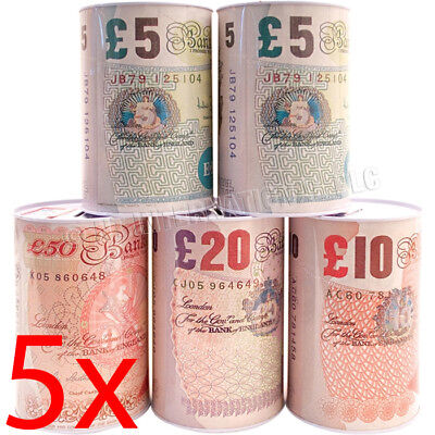 Set Of 5 Pound Note Design Money Tin Piggy Bank Box Savings Coins Cash Change