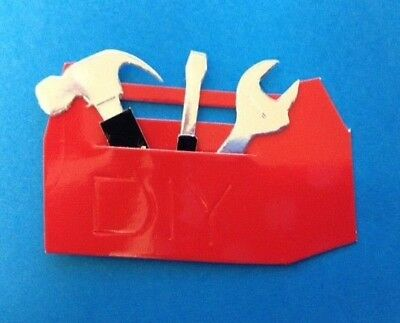 5 Red D.I.Y. Tool Box Boxes Card Making Scrapbook Craft Embellishments Toppers