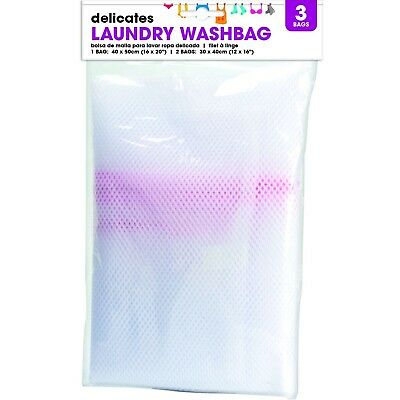 3 x Zipped Laundry Mesh Bags Delicate Washing Easy Lingerie Bra Clothes Wash