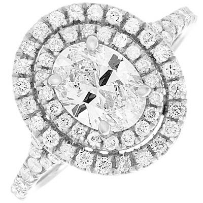 GIA Certified Diamond Engagement Double Halo Style Ring Oval Cut 2.10 CTW
