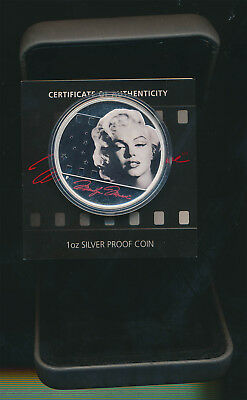 Tuvalu: 2012 $1 Marilyn Monroe 1oz 999 Colored  Silver proof, cased.