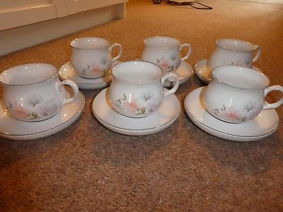 Denby Dauphine/Encore set of six round/balloon cups and saucers
