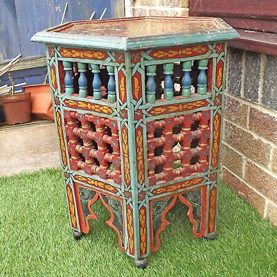 Vintage Moroccan Fretwork Table - Hand Painted Zouak Moucharaby
